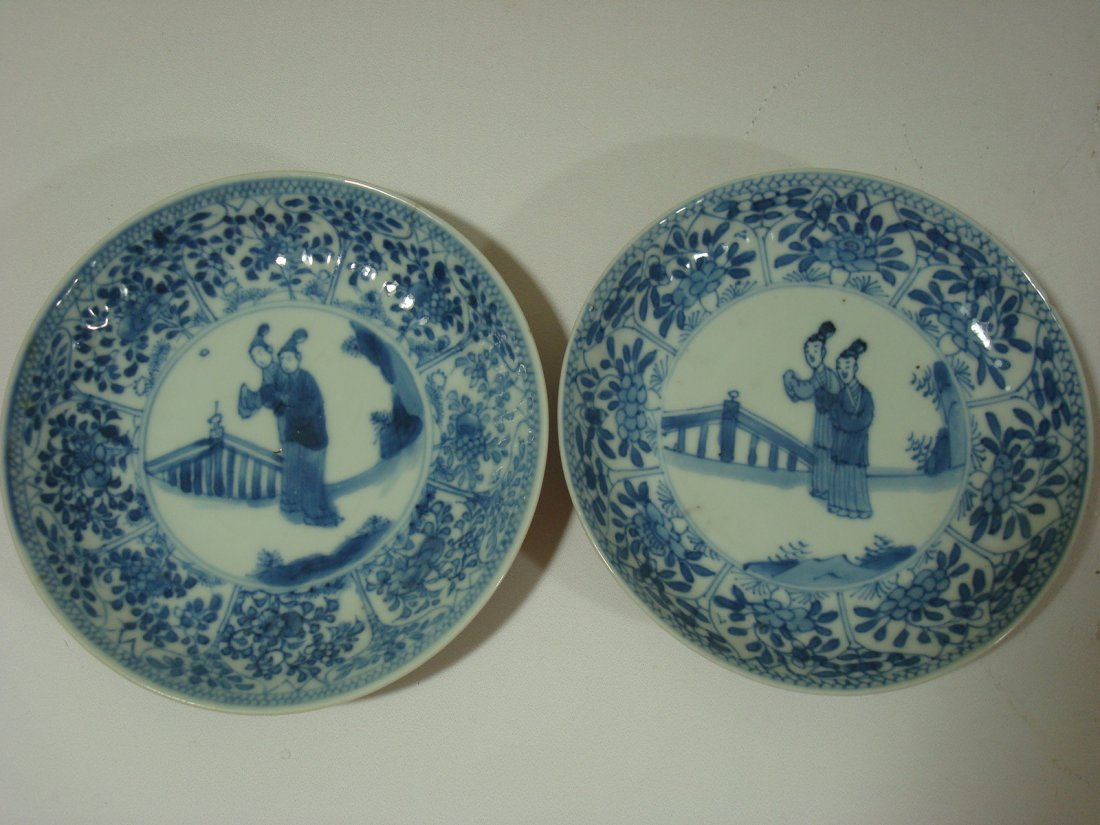 Antique Pair Chinese Blue and White plates, Kangxi