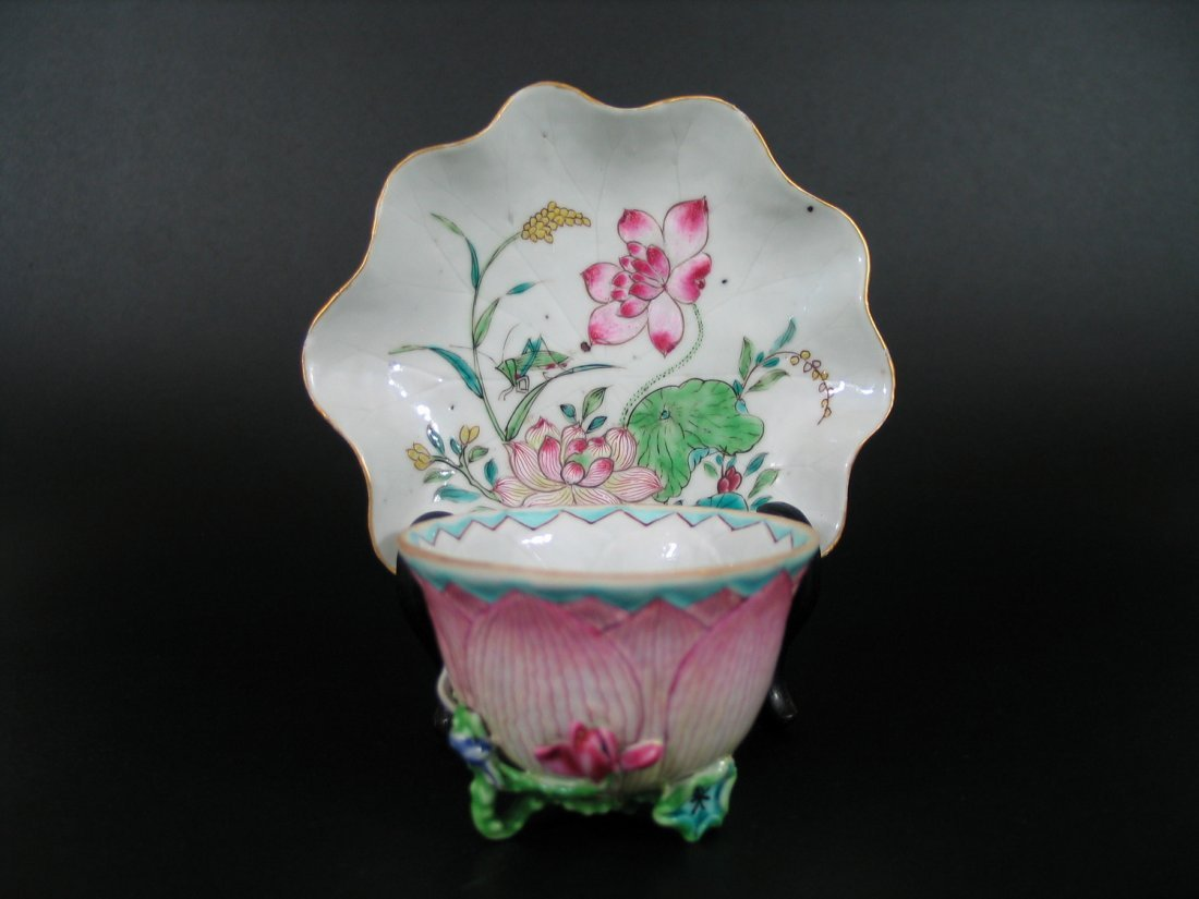 Chinese Export Famille Rose cup and saucer, Qianlong