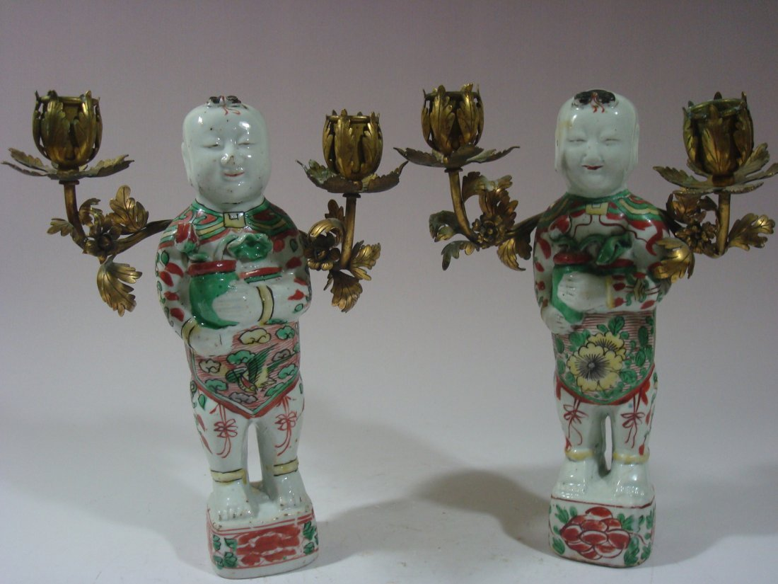 Antique Pair Chinese WuCai Transitional period, 1600's