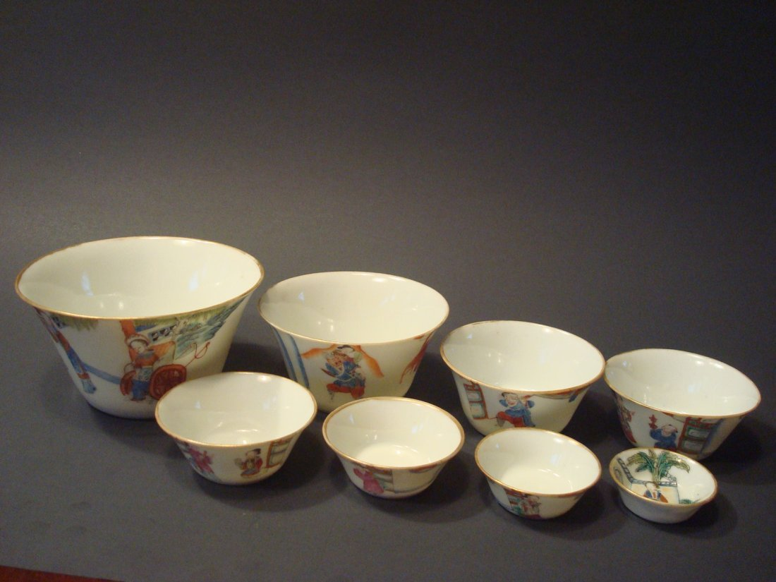 Antique Chinese Famille Rose Nested Bowls, mid 19th C