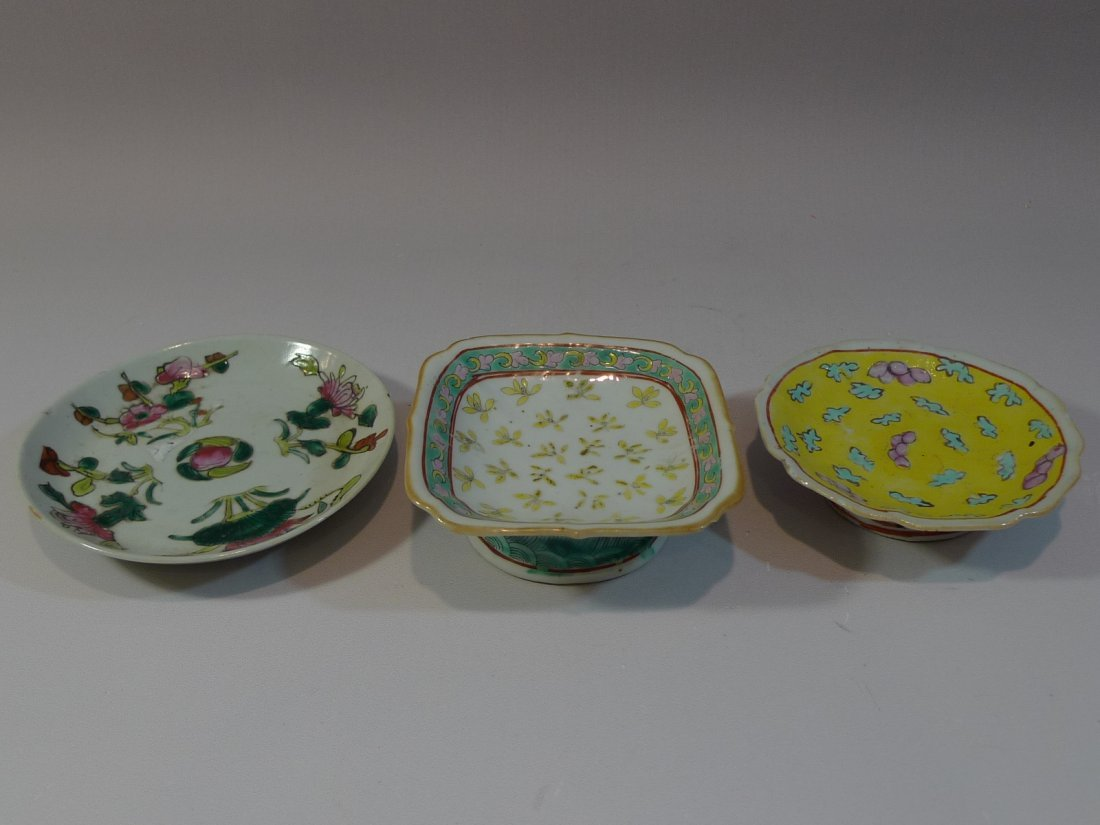 THREE ANTIQUE CHINESE FAMILLE ROSE PORCELAIN DISH 19TH