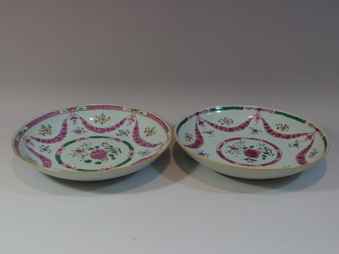 PAIR RARE ANTIQUE CHINESE EXPORT FAMILLE ROSE PORCELAIN