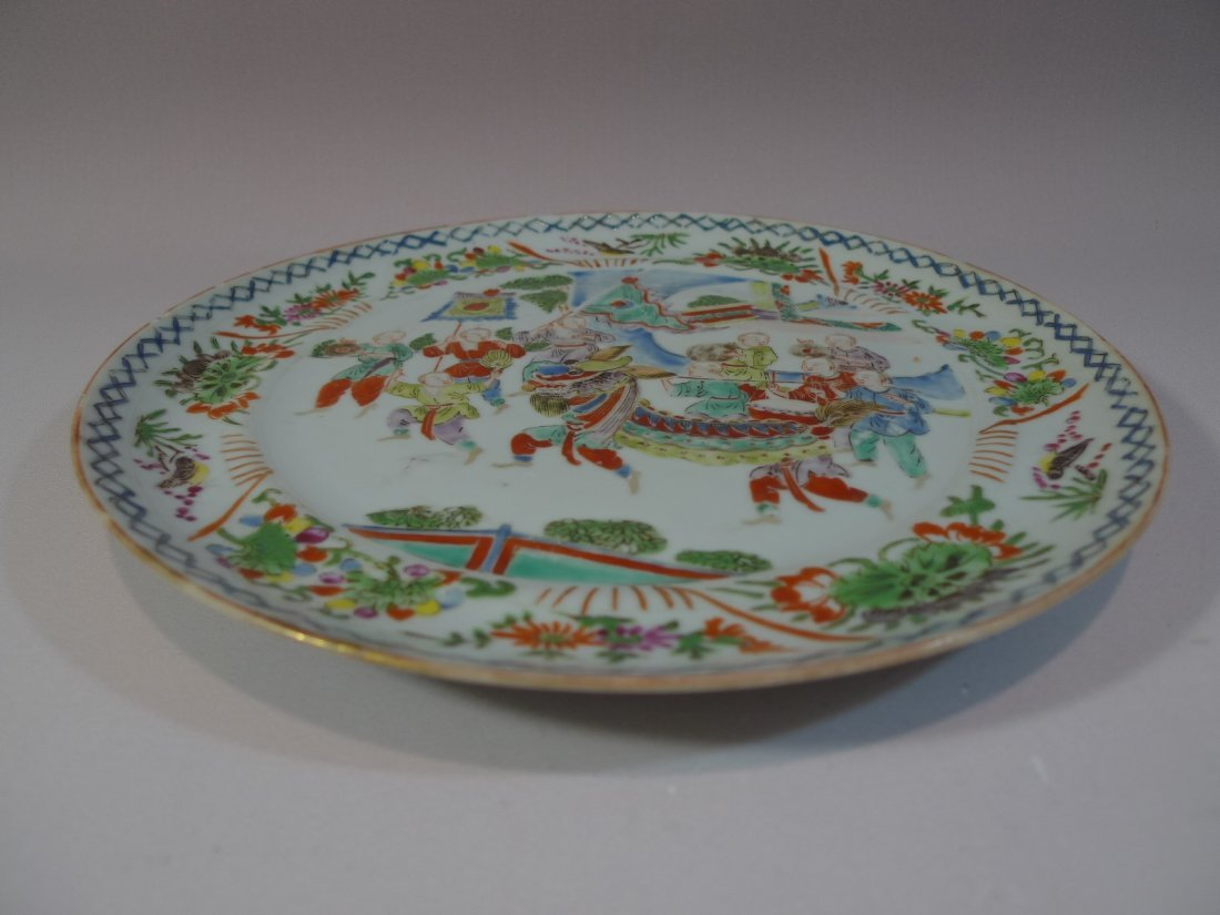 RARE ANTIQUE CHINESE FAMILLE ROSE PORCELAIN PLATE QING