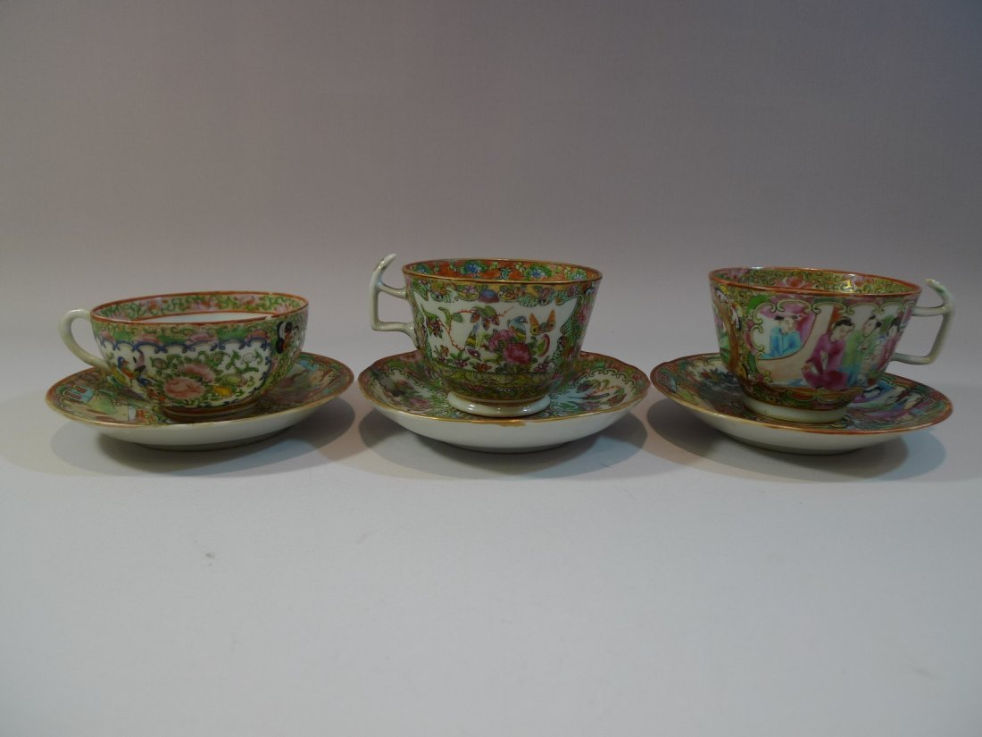 3 ANTIQUE CHINESE ROSE MEDALLION PORCELAIN CUP SAUCER
