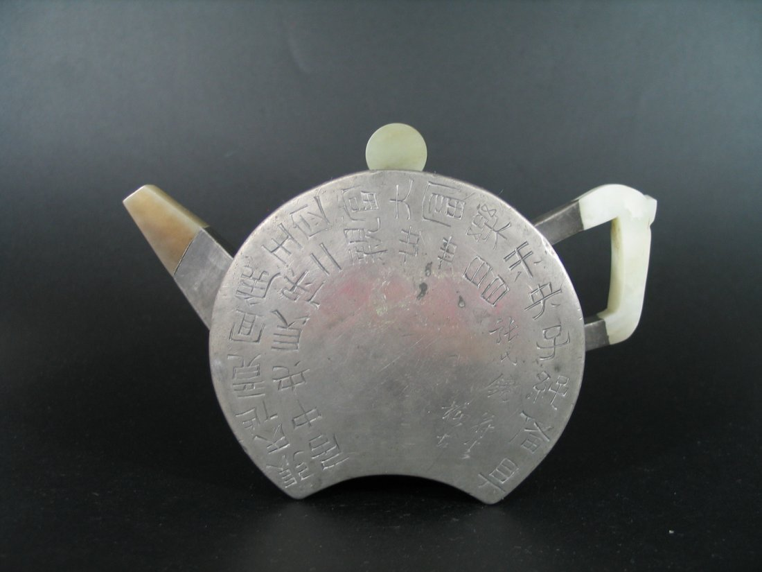 Antique Chinese Yixing Teapot with Tin Decoration