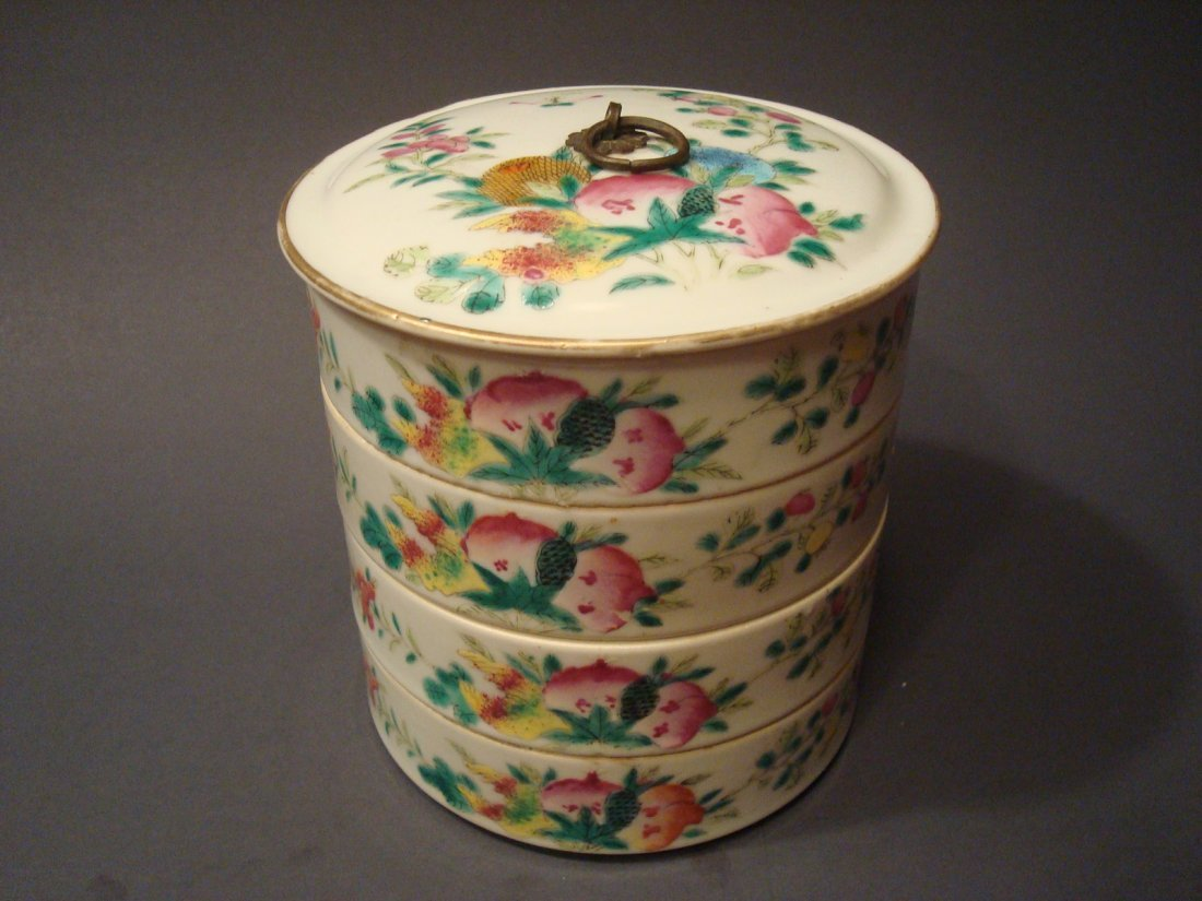 ANTIQUE Chinese Famille Rose Stacking Bowls, 19th C