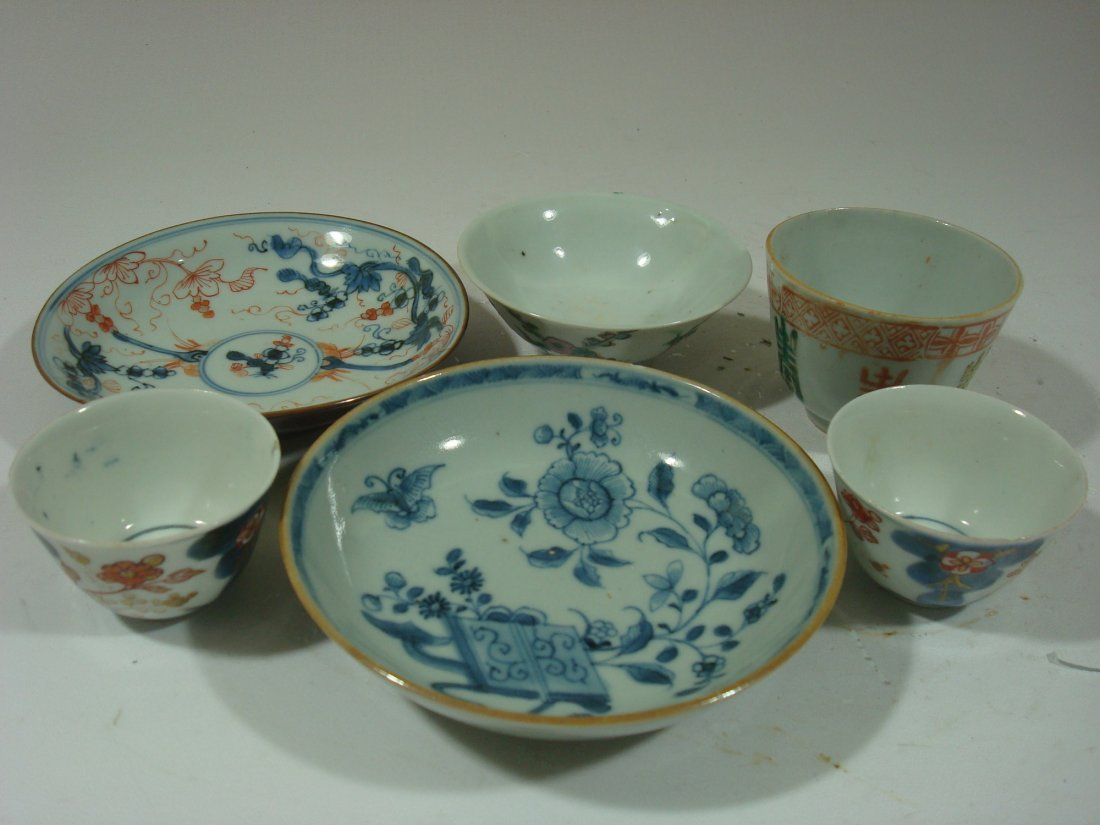 ANTIQUE Chinese Famille Rose Teacups, saucers & Bowls,