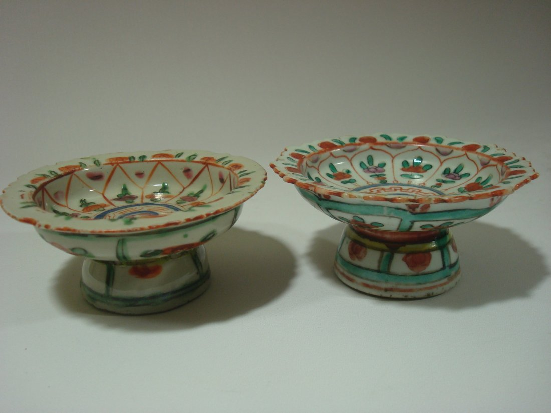 ANTIQUE pair Chinese Wucai stem plates, 18/19th C