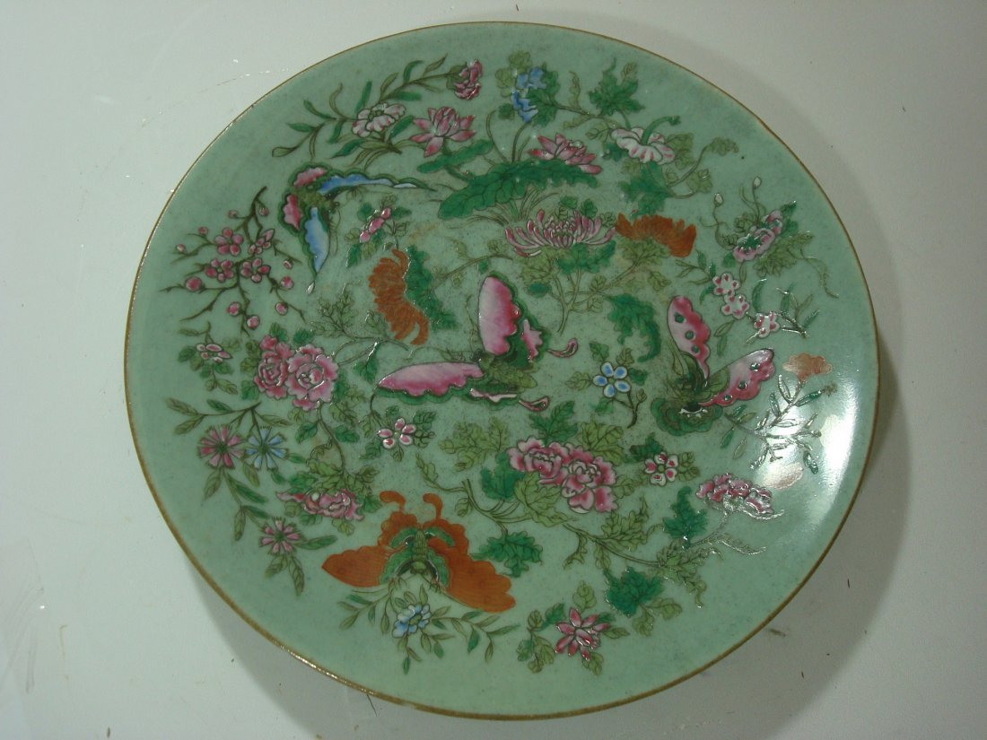 ANTIQUE Chinese Famille Rose Celadon Plate, 19th C