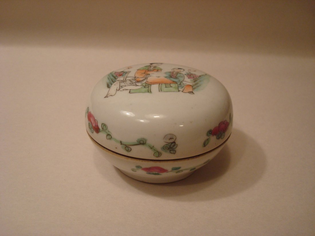 ANTIQUE Chinese Famille Rose Ink Box, 19th C