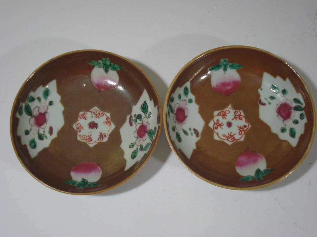 ANTIQUE Pair Chinese Famille Rose plates, 18th C