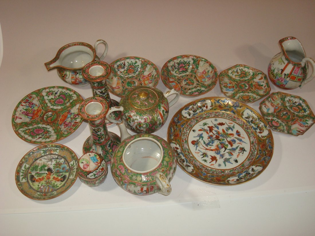ANTIQUE Chinese Rose Medallion Teapots, plates,