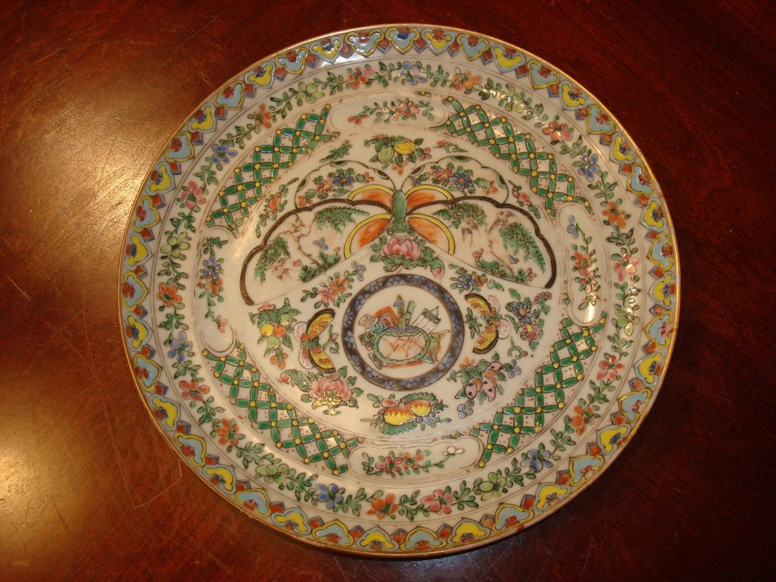 ANTIQUE Chinese Famille Rose Butterfly Plate, 19th C