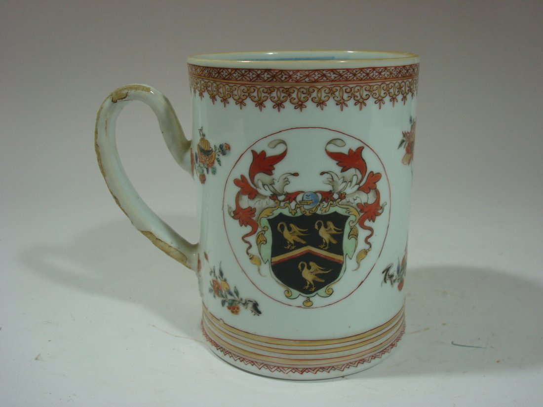 ANTIQUE Chinese Famille Rose Armorial Mug, 18th C.