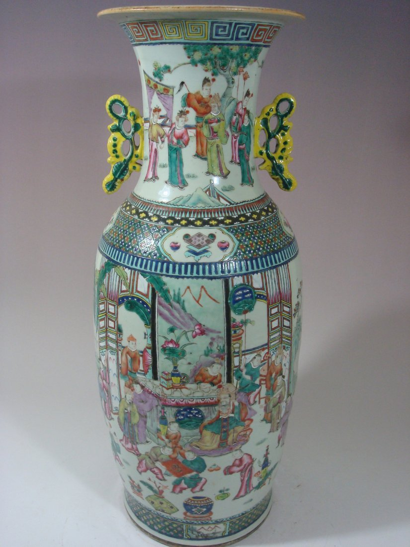 "ANTIQUE Chinese Famille Rose Huge Vase, 24"", 19th C"