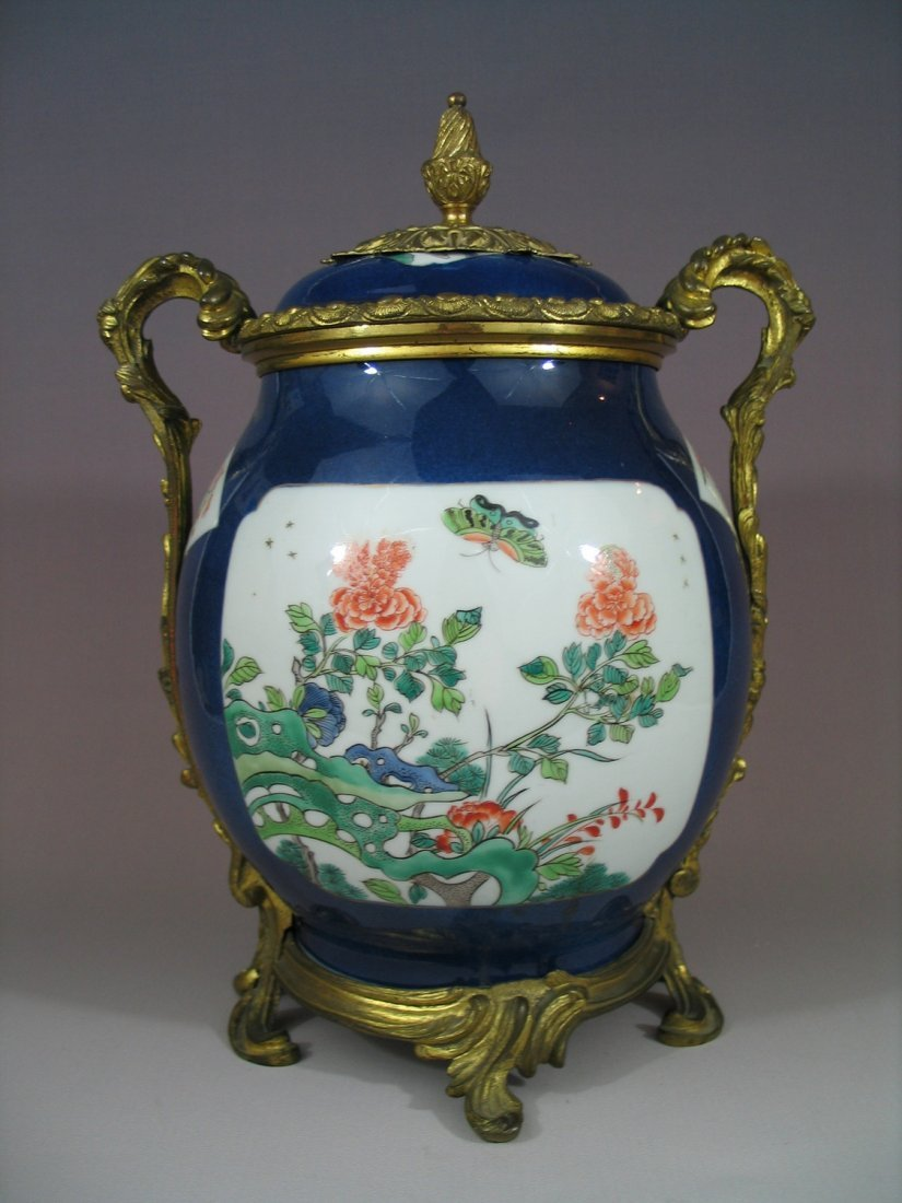 Antique Chinese Famille Verte and Powder Blue Porcelain
