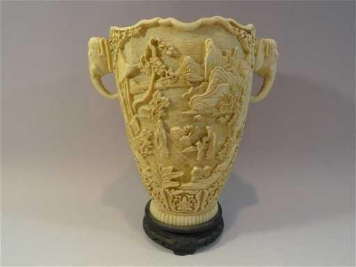 Large Antique Chinese Faux Ivory Vase