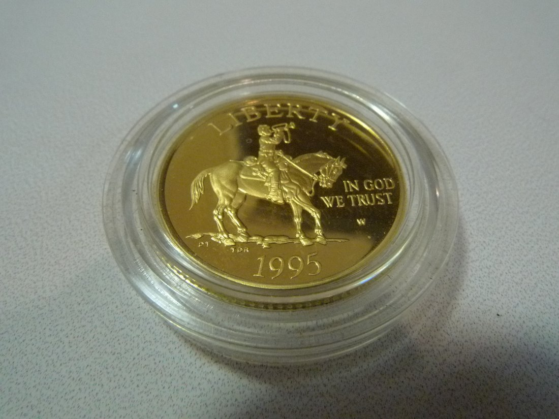 1995 W USA COMMEMORATIVE CIVIL WAR $5 GOLD PROOF COIN