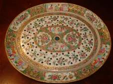 ANTIQUE Chinese Rose Medallion Platter 19th C