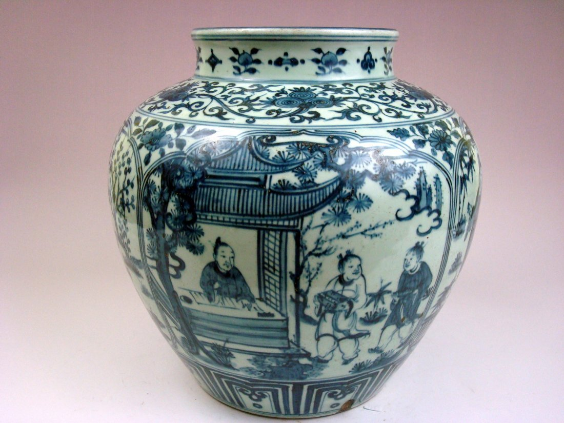 ANTIQUE Chinese Blue and White Large Jar, Da Ming
