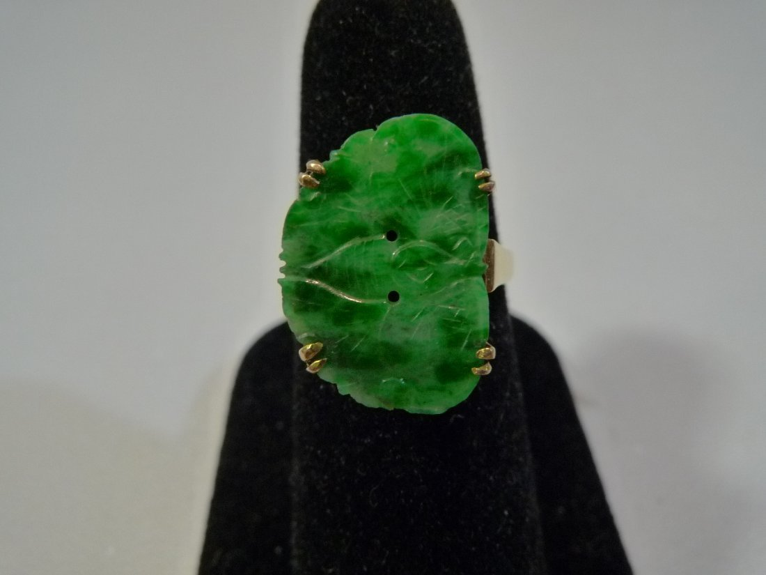 ANTIQUE CHINESE 14K GOLD NATURAL GREEN JADEITE RING