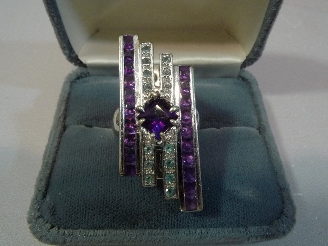 EXTREMELY FINE AND RARE 14K ART DECO DIAMOND RING - 15