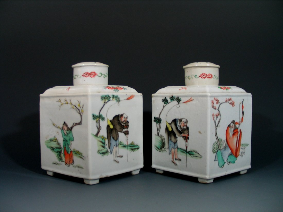 Two Antique Chinese Famille Rose Porcelain Tea Caddies,