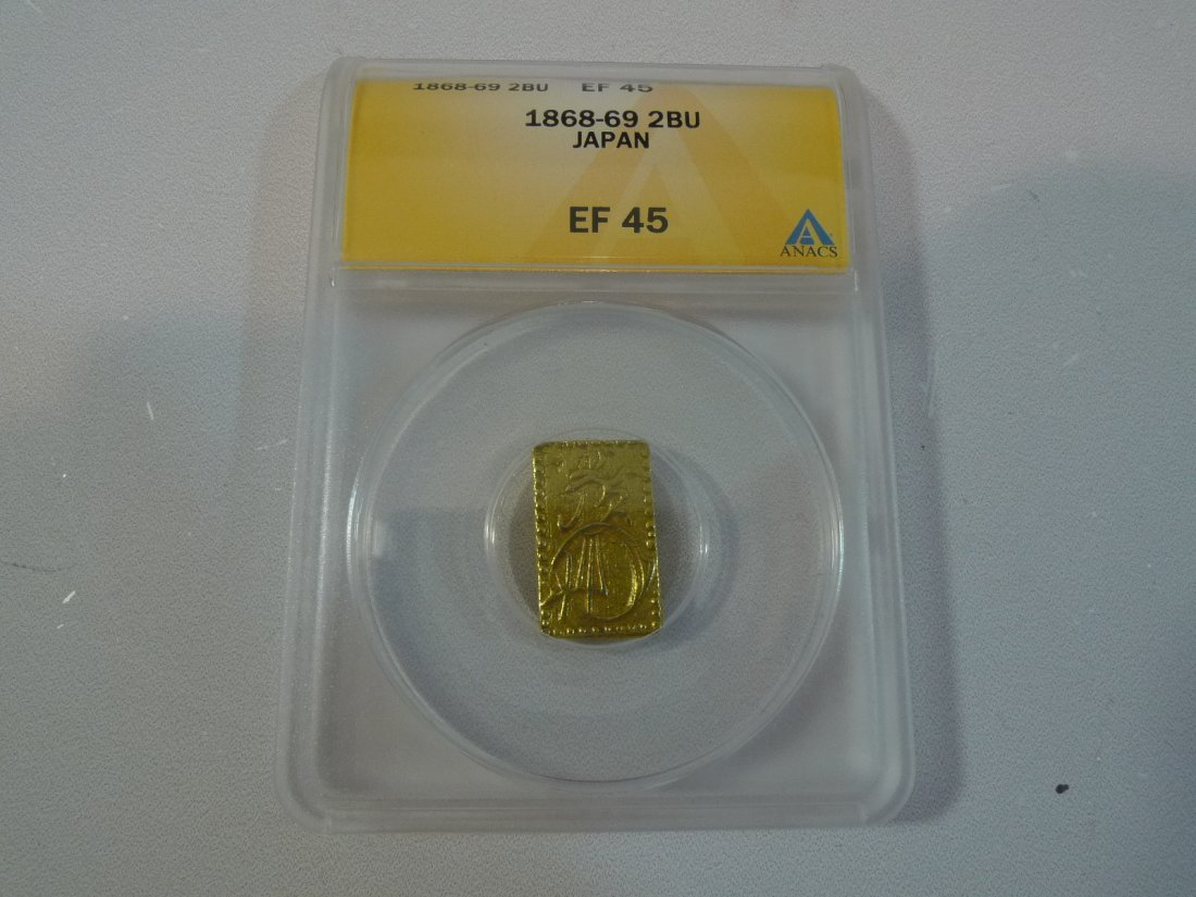 ANTIQUE JAPANESE 2 BU GOLD COIN ANACS EF 45