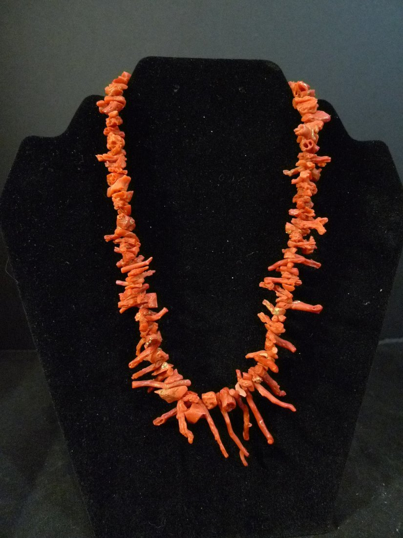RARE LARGE CHINESE RED CORAL BRANCH NECKLACE