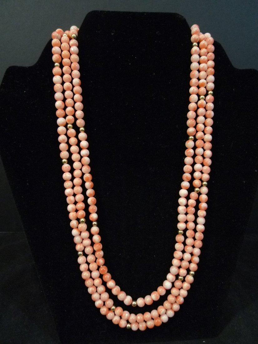 14K GOLD PINK CORAL 3 STRAND BEADS NECKLACE