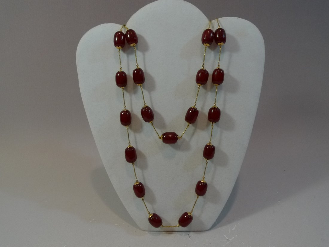 14K GOLD RARE CHERRY RED AMBER MILA BEADS NECKLACE 101