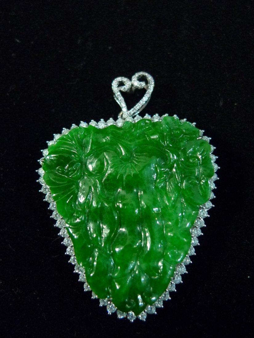 IMPORTANT RARE CHINESE GRADE A JADEITE DIAMOND 18K