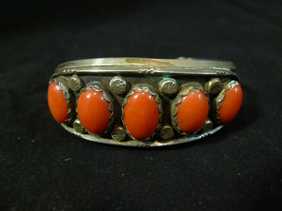 IMPORTANT LARGE RED CORAL CABOCHON STERLING SILVER