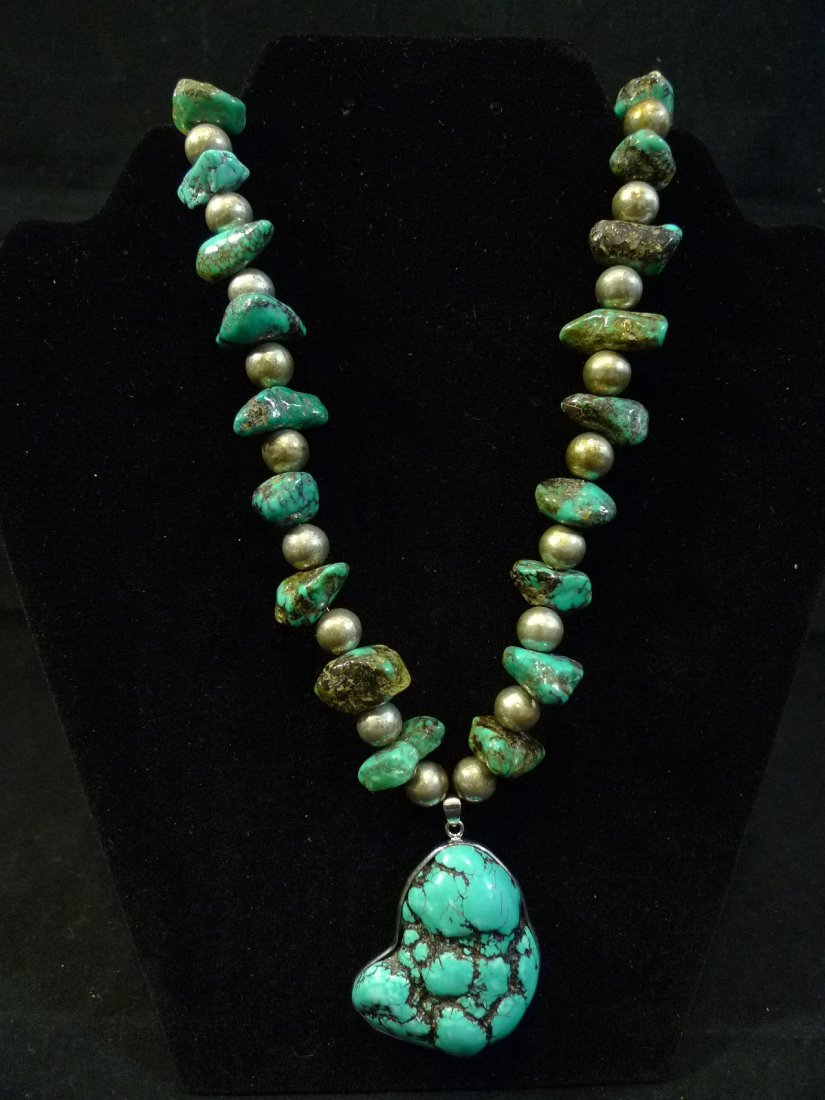 VERY LARGE ANTIQUE CHINESE NATURAL TURQUOISE SILVER