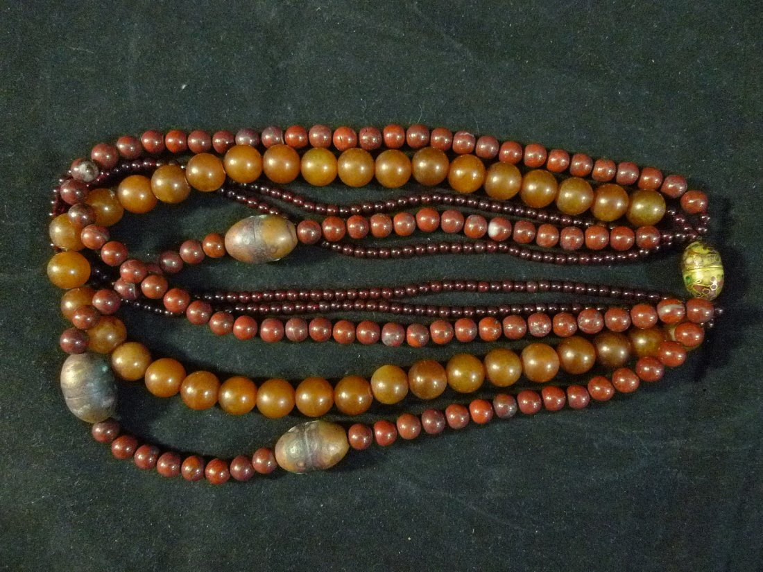 IMPRESSIVE 5 STRAND CHINESE AMBER RED AGATE BEADS
