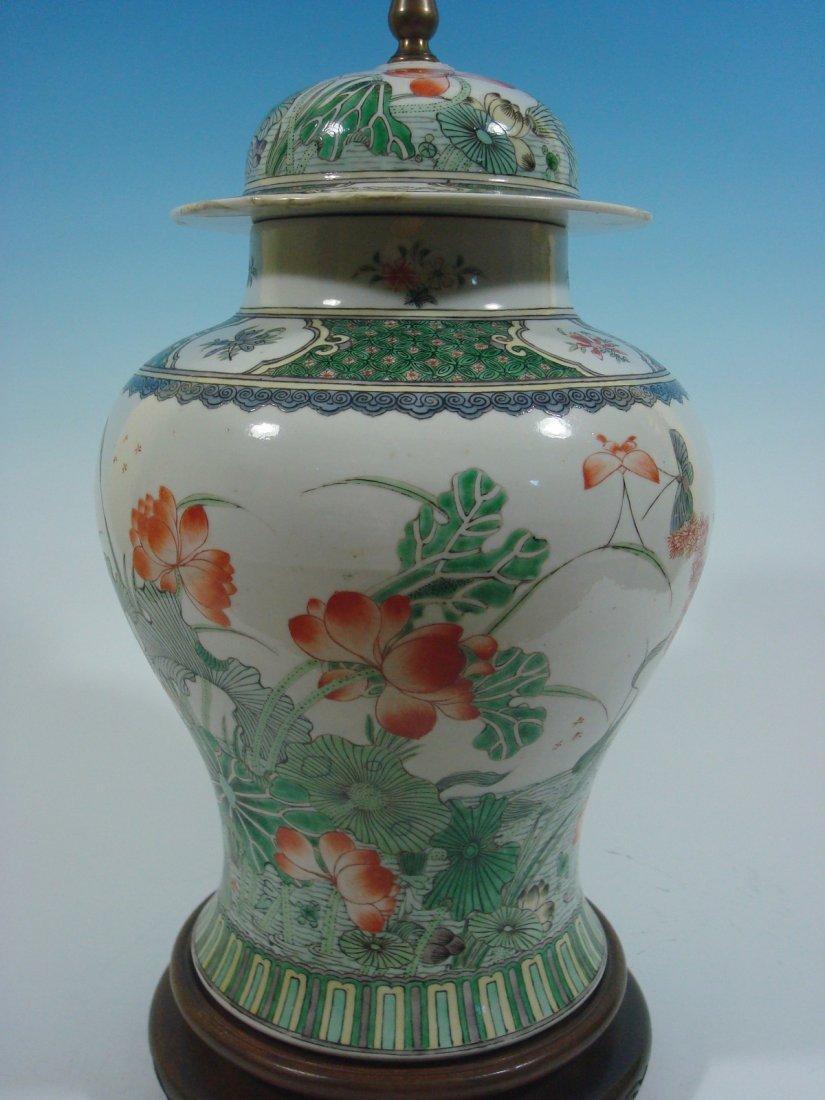 ANTIQUE Chinese Famille Rose Large Jar Lamp, Kangxi