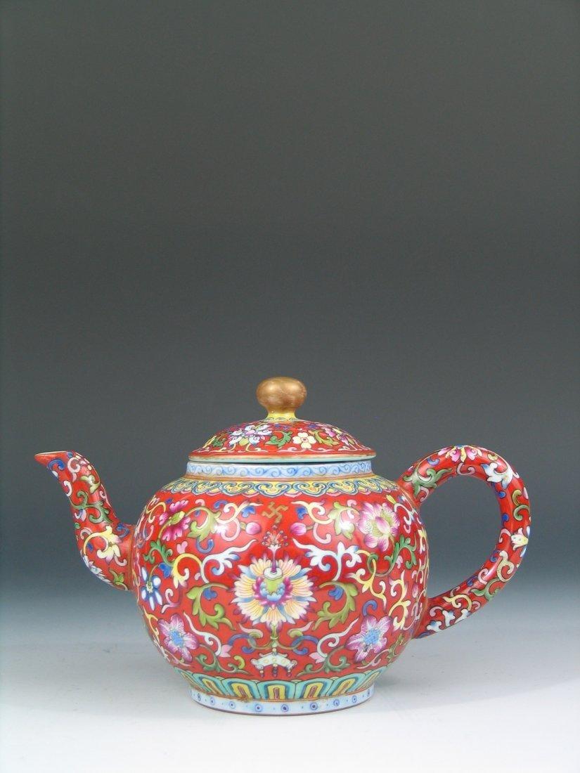 Antique Chinese Famille Rose Porcelain Teapot, Qianlong