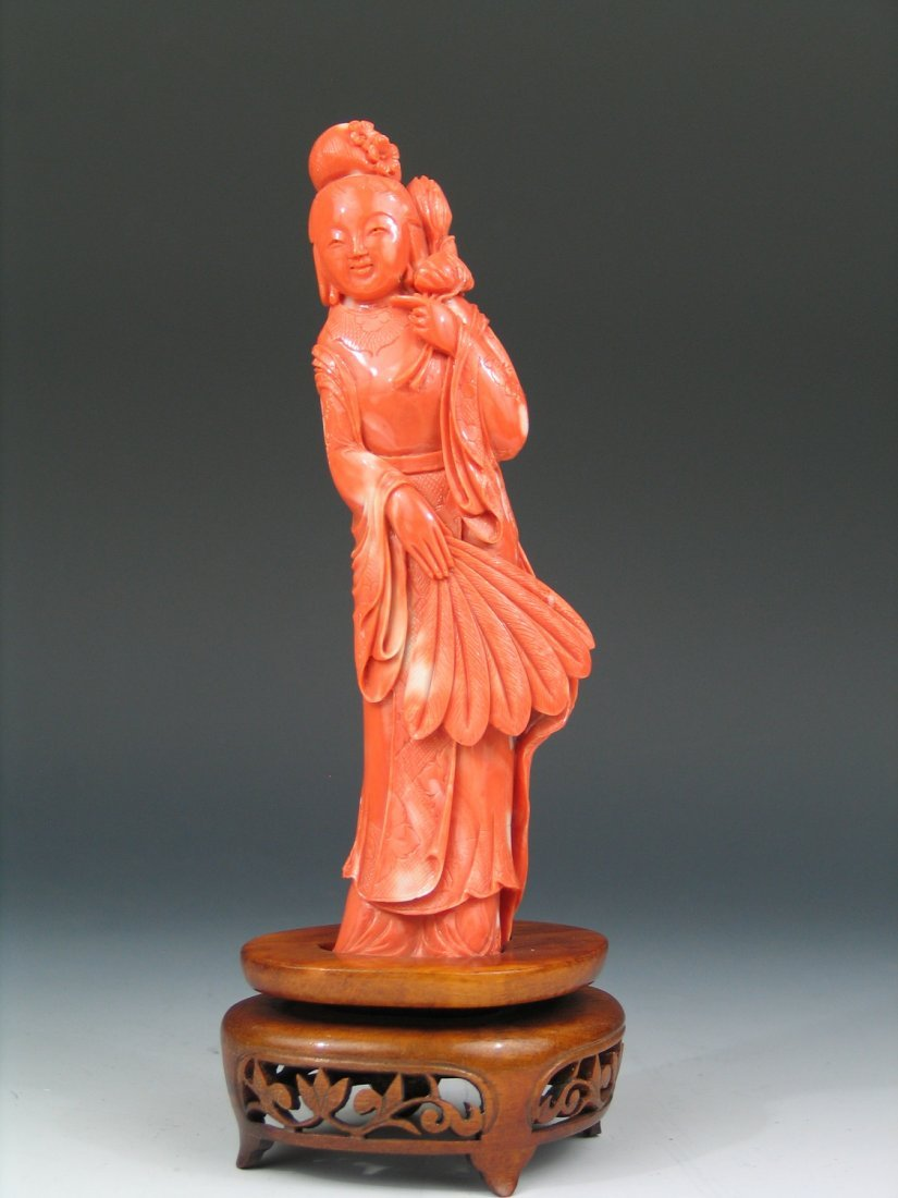 Chinese Carved Red Coral Maiden Figure