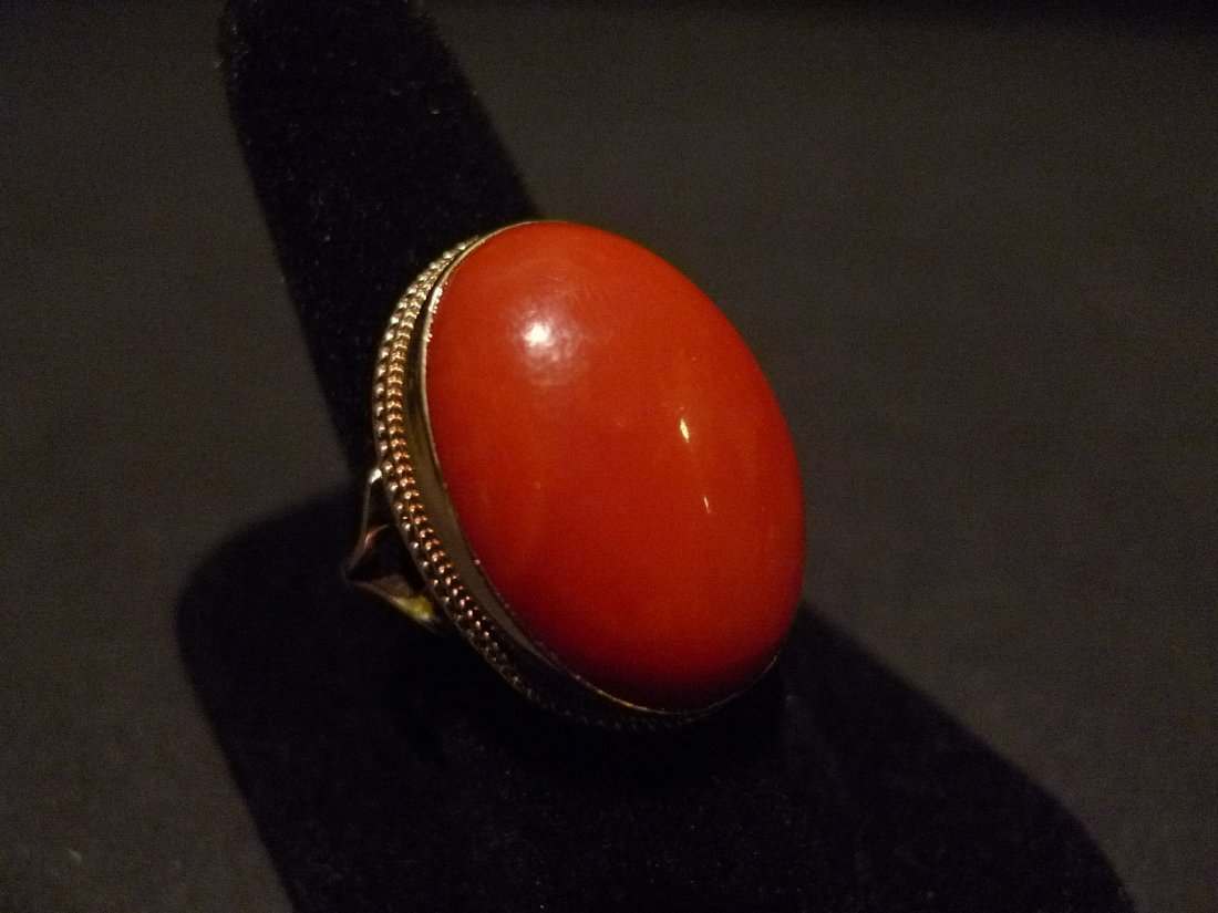 HUGE RARE CHINESE DEEP RED CORAL CABOCHON RING 14K GOLD