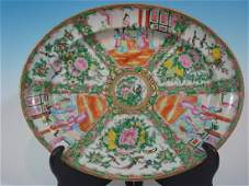 ANTIQUE Chinese Rose Medallion Platter 18 14 long