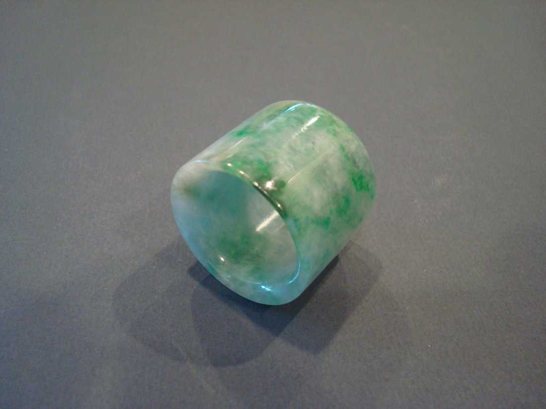 OLD Chinese Green Jade (Fei Cui) Thumb Ring - 2