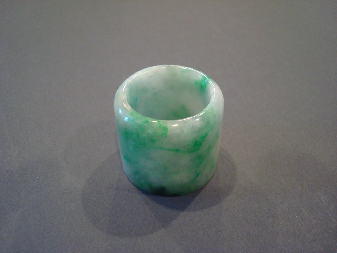 OLD Chinese Green Jade (Fei Cui) Thumb Ring - 4