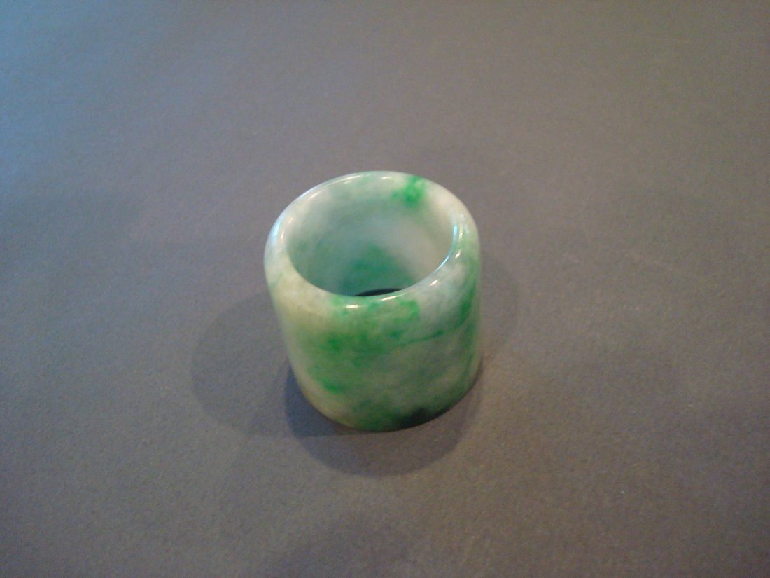 OLD Chinese Green Jade (Fei Cui) Thumb Ring - 5