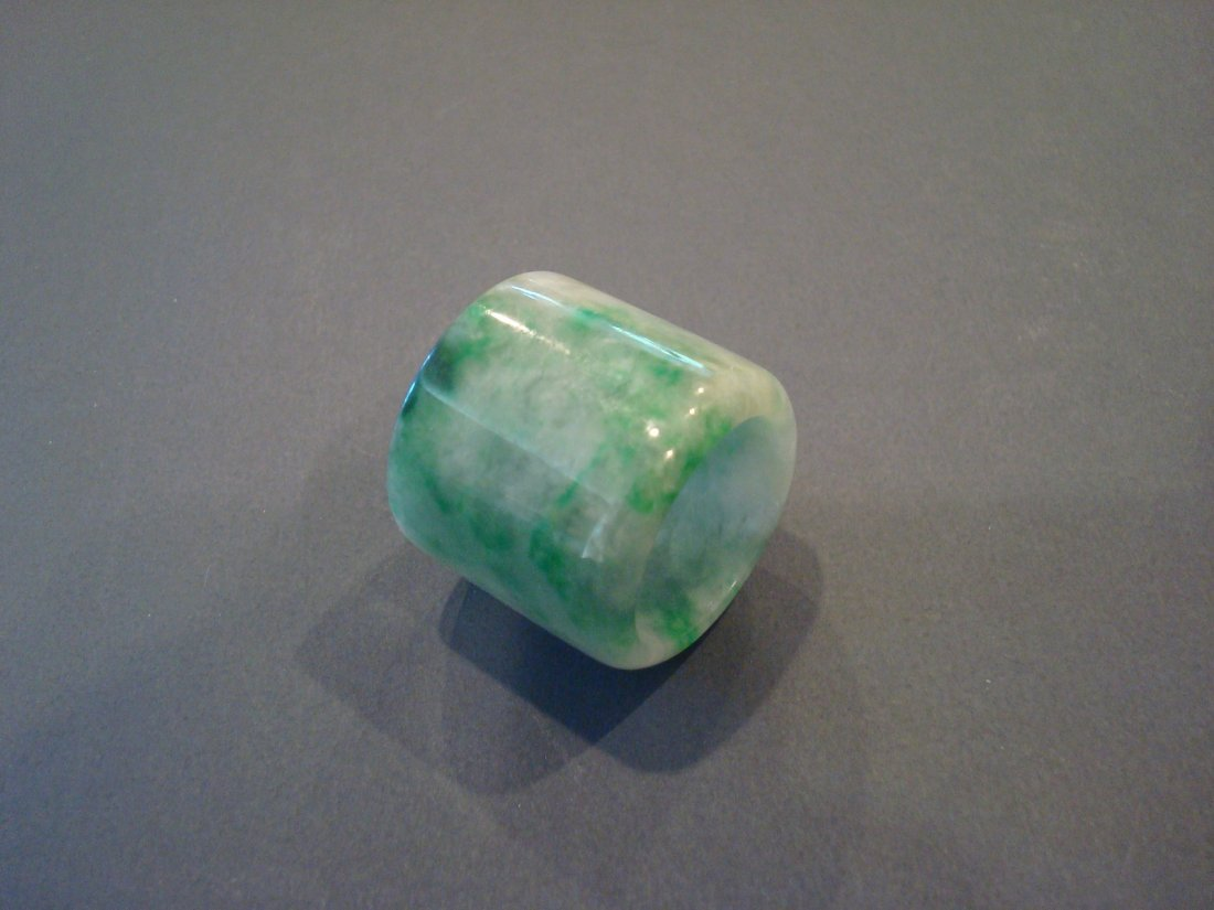 OLD Chinese Green Jade (Fei Cui) Thumb Ring - 6