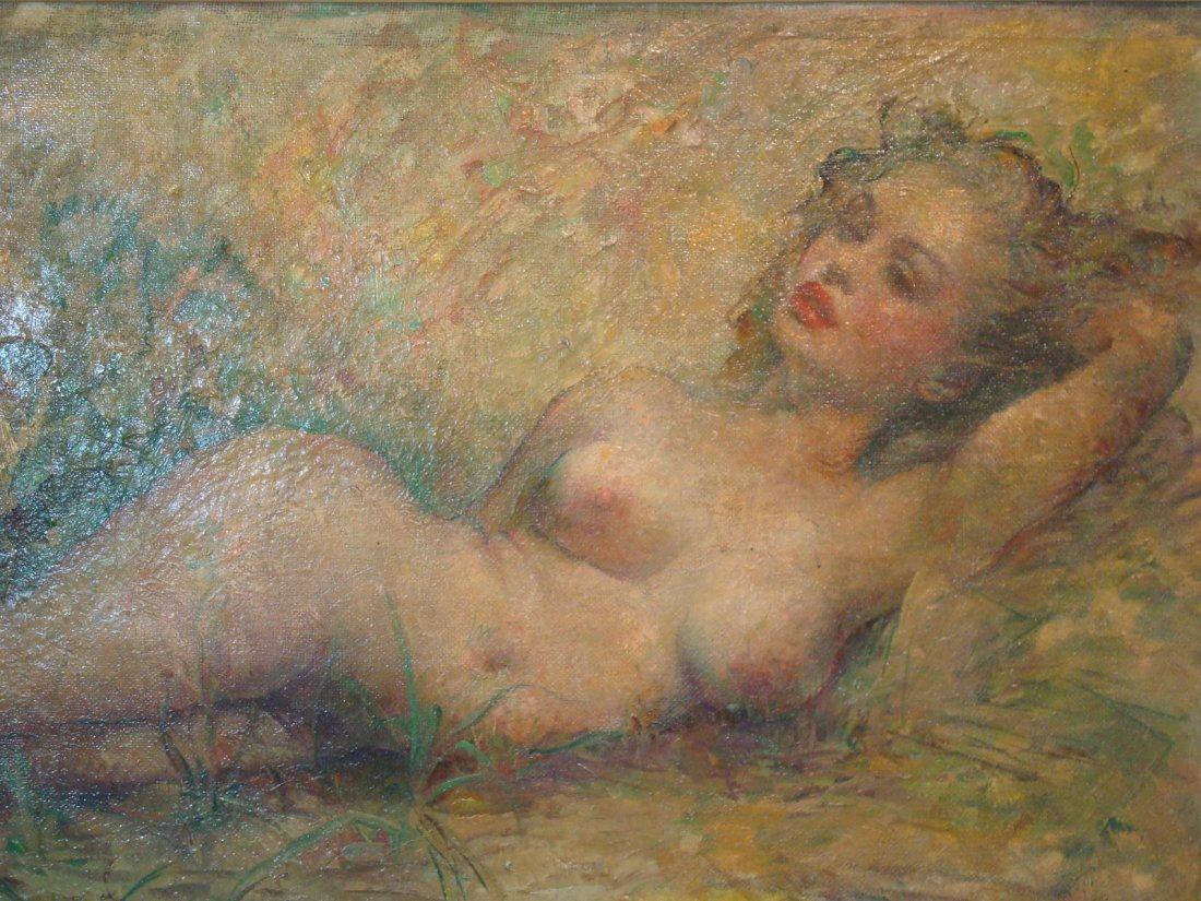 "Old Oil painting on Canvas, ""Marilyn Monroe"" nude. - 10"