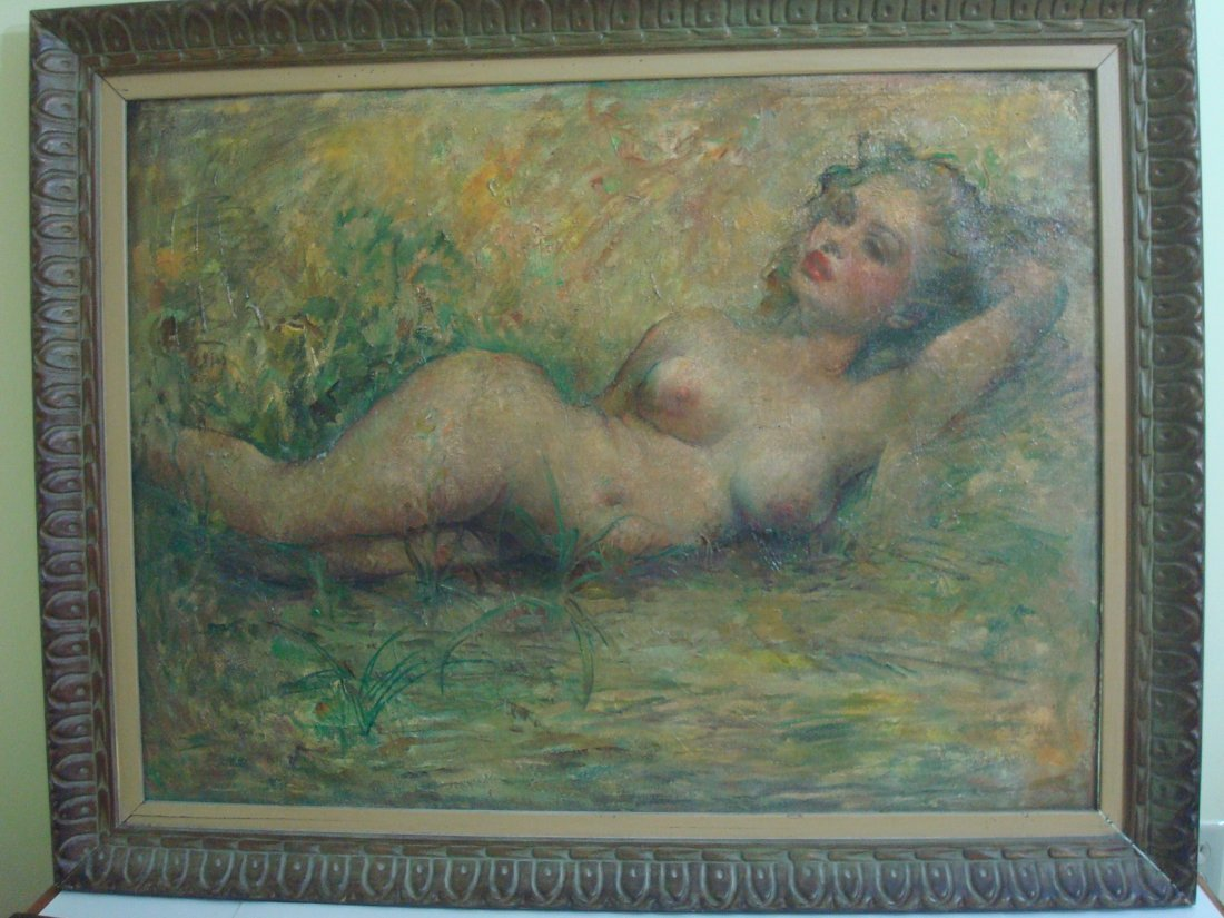 "Old Oil painting on Canvas, ""Marilyn Monroe"" nude."