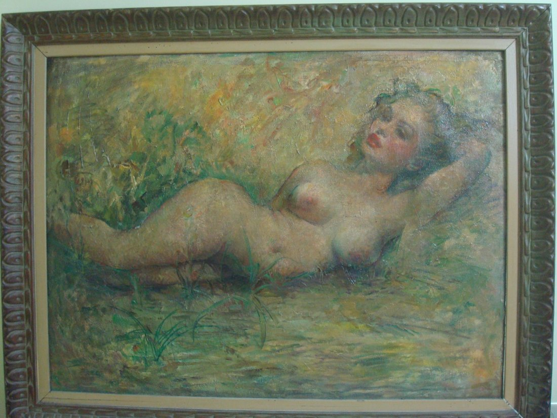 "Old Oil painting on Canvas, ""Marilyn Monroe"" nude. - 2"