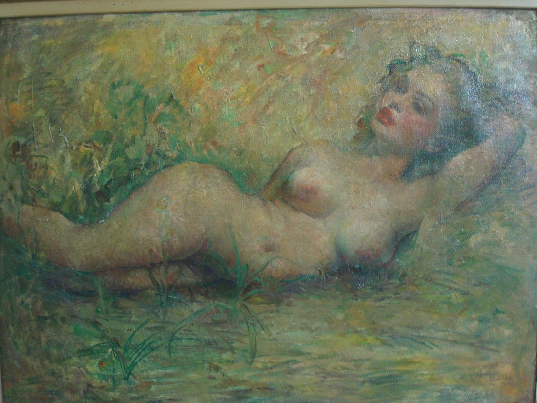 "Old Oil painting on Canvas, ""Marilyn Monroe"" nude. - 3"