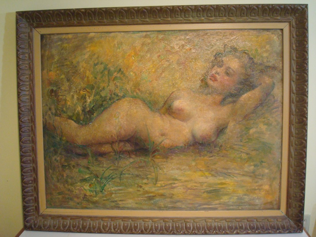 "Old Oil painting on Canvas, ""Marilyn Monroe"" nude. - 9"