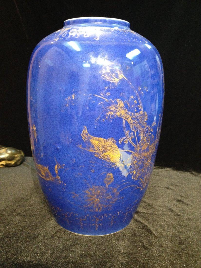 Antique Chinese Monochrome Blue Porcelain Jar with Gilt